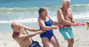 Hogere vrienden die touwtrekwedstrijd spelen stock video