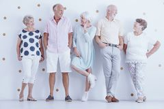 Hogere vrienden die vrijetijdskleding dragen Stock Foto