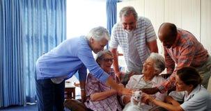 Hogere vrienden en vrouwelijk arts het strijken katje bij pensioneringshuis 4k