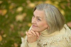 Hogere vrouw in de herfstpark Stock Foto's