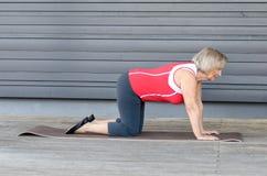Hogere vrouw die oefeningen op een gymnastiekmat doen stock afbeelding