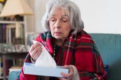 Hogere Vrouw die thuis met Griepvirus lijden stock afbeelding