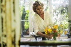 Hogere vrouw die verse bloemen schikken royalty-vrije stock afbeeldingen