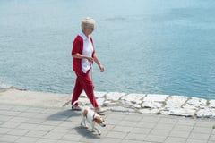 Hogere vrouw en haar hond Royalty-vrije Stock Afbeeldingen