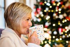 Hogere Vrouw in Front Of Christmas Tree Royalty-vrije Stock Afbeelding