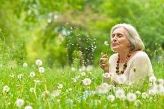 Hogere vrouw in groen park Royalty-vrije Stock Afbeelding
