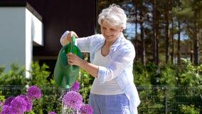 Hogere vrouw het water geven bloemen bij de zomertuin stock footage
