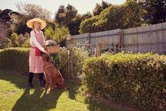 Hogere vrouw klaar voor het tuinieren in binnenplaats met haar hond stock fotografie
