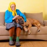 Hogere vrouw met grote hond Stock Foto