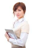 Hogere vrouw met nota's en tablet, die bekijken royalty-vrije stock fotografie