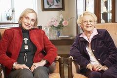 Hogere vrouwen die in leunstoelen ontspannen stock foto's