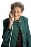 Hogere vrouwentelefoon stock foto's