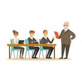 Hogere werkgever die aan jonge collega's bedrijfsideeën vectorillustratie verklaren stock illustratie
