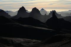 Hoggar Mountains in Algeria. Hoggar Mountains in the Sahara Algeria Royalty Free Stock Images