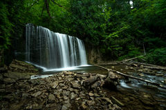 Hoggs Falls, Flesherton Ontario. Hoggs Falls is another of the many waterfalls of the Niagara Escarpment. This is a small, secluded and mostly wild waterfall stock photography