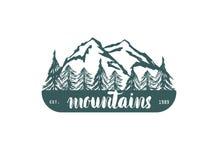 Hogo del hrawn de la mano de la montaña Vector el elemento del diseño en el estilo del vintage para el logotipo, la etiqueta, la  Imagen de archivo libre de regalías