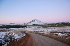 Hogs hill. Hill with snow on at sunset, Hogsback, Amathole Mountains Stock Photo