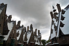Hogsmeade. At Universal's Islands of Adventure guests can walk through Hogsmeade at the Wizarding World of Harry Potter Stock Image
