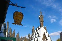 Hogsmeade-Dorf an Wizarding-Welt von Harry Potter Stockbilder