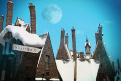 Hogsmeade of Harry Potter fame, Universal Studios, Hollywood, Los Angeles. Hogsmeade is a picturesque little British village of cottages and shops, with Royalty Free Stock Image