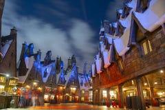 Hogsmeade village in Universal Orlando at night, FL, USA. Hogsmeade village in the Wizarding World of Harry Potter in Universal Orlando, Florida, USA stock photos