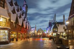 Hogsmeade village in Universal Orlando at night, FL, USA. Hogsmeade village in the Wizarding World of Harry Potter in Universal Orlando, Florida, USA stock photography