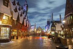 Hogsmeade village in Universal Orlando at night, FL, USA. Hogsmeade village in the Wizarding World of Harry Potter in Universal Orlando, Florida, USA royalty free stock photo