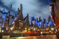Hogsmeade village in Universal Orlando at night, FL, USA. Hogsmeade village in the Wizarding World of Harry Potter in Universal Orlando, Florida, USA stock image