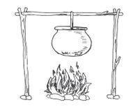 hoguera Caldera que cuelga sobre el fuego Vector Fotos de archivo