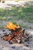 Hoguera lista para la barbacoa Fuego de la acción de Freezed en el suelo Imagen de archivo