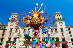 Hogueras holiday in the Alicante. Alicante, Spain - June 20, 2017: The Bonfires of Saint John holiday in the Alicante city. Decorations, are structures made of Royalty Free Stock Photography