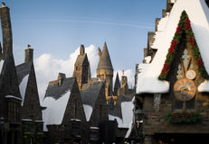 Hogwarts castle behind Hogsmeade village. From Harry Potter movies in Universal Studios Japan Royalty Free Stock Image