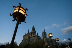 Hogwarts castle in the evening Stock Photos