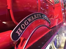 Hogwarts Castle loco detail from Harry Potter movies. Nameplate on 'Hogwarts Castle' locomotive that took Harry Potter from Kings Cross startion to stock photo