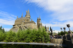 The Hogwarts castle in The Wizarding World. OSAKA, JAPAN - OCTOBER 13, 2016: The Hogwarts castle in The Wizarding World of Harry Potter in Universal Studio Osaka Royalty Free Stock Image