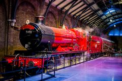 Hogwarts Express at platform 9 3/4 in Warner Brothers Harry Potter Studio Tour. London Royalty Free Stock Photography
