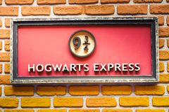 Hogwarts Express 9 and three quarter train platform from Harry Potter saga. Sign of the famous  9 and three quarter platform of the Hogwarts Express train  from Royalty Free Stock Photos
