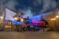 Hogwarts Railways in Universal Orlando, FL, USA. Locomotive of Hogwarts Railways at Hogsmeade Station in the Wizarding World of Harry Potter in Universal Orlando stock image