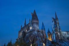 Hogwarts ` s学校在晚上 库存照片