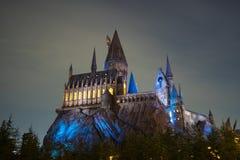 Hogwarts ` s学校在晚上 库存图片
