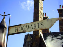 Hogwarts Sign. Road Sign in Wizarding World of Harry Potter, Universal Orlando, Florida