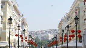 Hohe Ansicht von Aristoteles-Quadrat, Saloniki, Griechenland lizenzfreie stockfotos