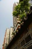 Hohe Anstieggebäude mit Wand Lizenzfreie Stockbilder