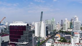 Hohe Anstiegszeitversehen Stadtbild-Bangkok-Skyline in Thailand, Bangkok sind Metropole stock video footage