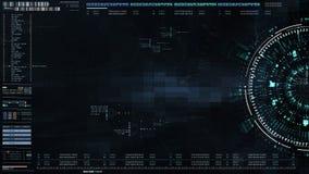 Hohe Anzeige des High-Techen Benutzerschnittstellen-Kopfes mit Informationen der digitalen Daten stock abbildung