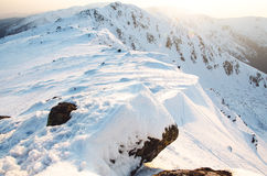 Hohe Berge unter Schnee im Winter Lizenzfreies Stockbild