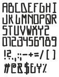 Hohe Block-Hippie-Art-mutiger freihändiger Vektor-Guss mit Versalienbuchstaben, Zahlen u. Zeichen Stockbild