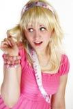 Hohe blonde Schlüsselschönheit Stockbilder