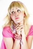 Hohe blonde Schlüsselschönheit Stockfotografie