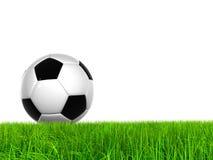 Hohe Fußballkugel der Auflösung 3D im grünen Gras Stockfoto